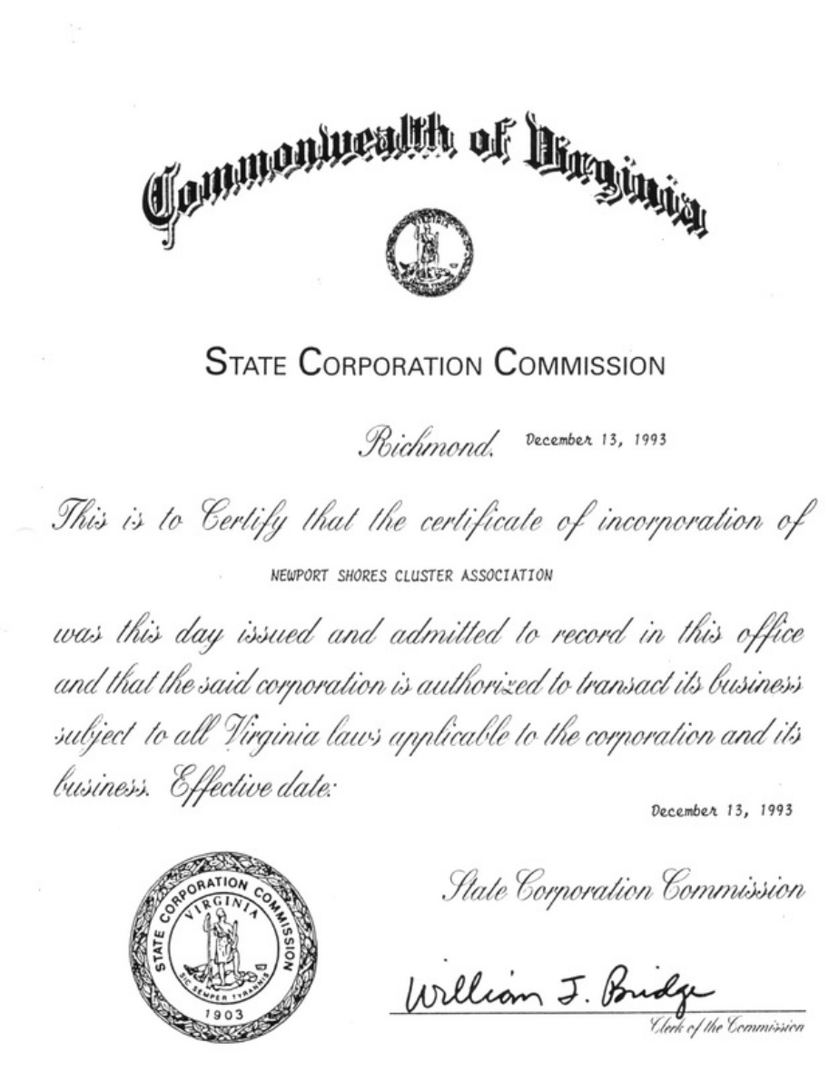 Articles Of Incorporation Newport Shores Cluster Association